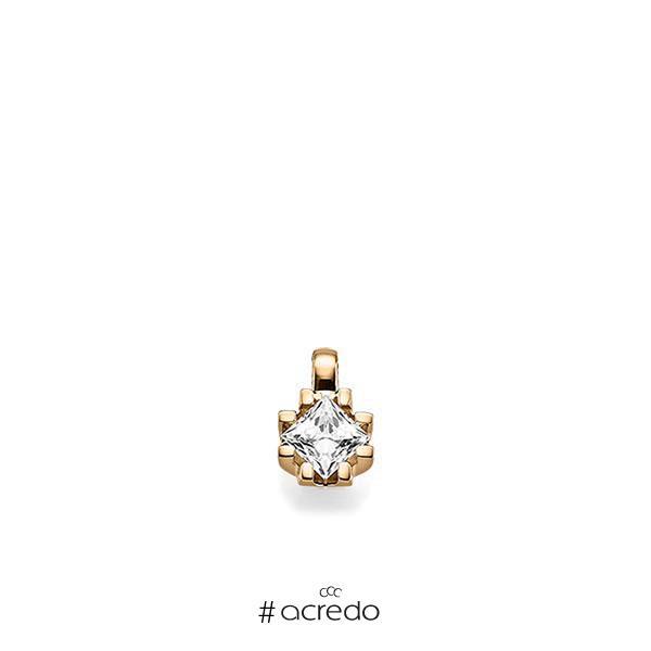 Anhänger in Roségold 585 mit 0,7 ct. Prinzess-Diamant tw, vs von acredo