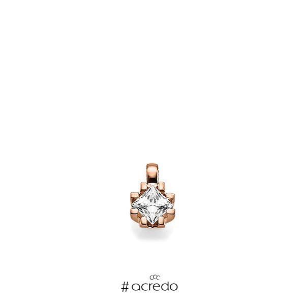 Anhänger in Rotgold 585 mit 0,7 ct. Prinzess-Diamant tw, vs von acredo