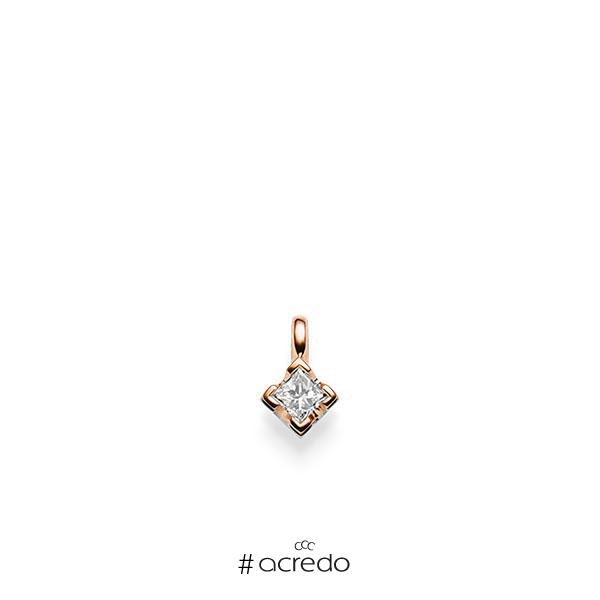 Anhänger in Rotgold 585 mit zus. 0,25 ct. Prinzess-Diamant tw, si von acredo