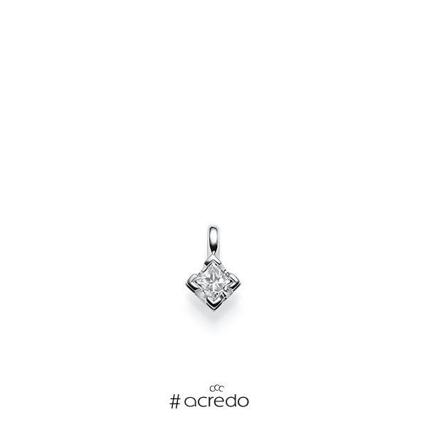 Anhänger in Weißgold 585 mit 0,3 ct. Prinzess-Diamant tw, vs von acredo