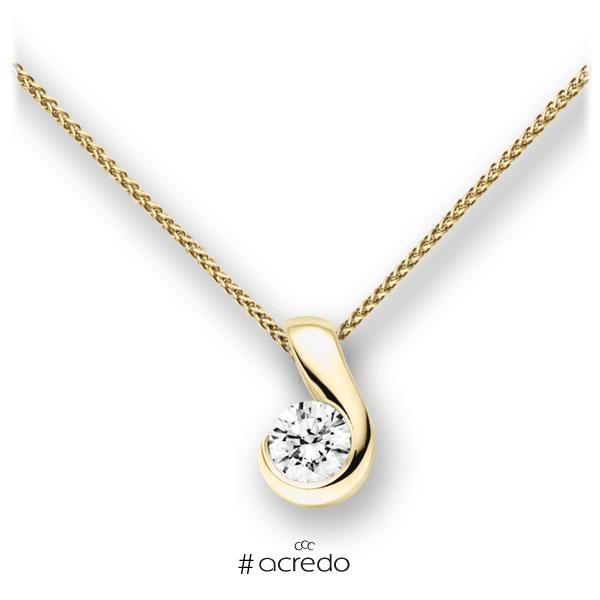 Collier in Gelbgold 585 mit 0,7 ct. Brillant tw, vs von acredo