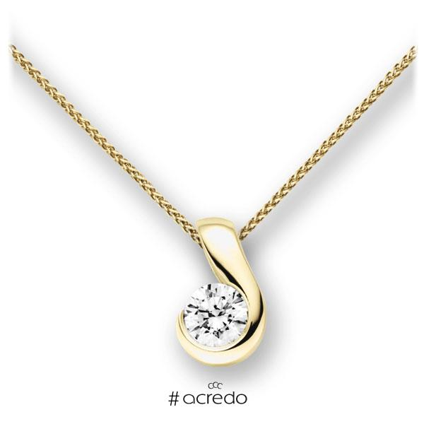 Collier in Gelbgold 585 mit 1 ct. Brillant tw, vs von acredo
