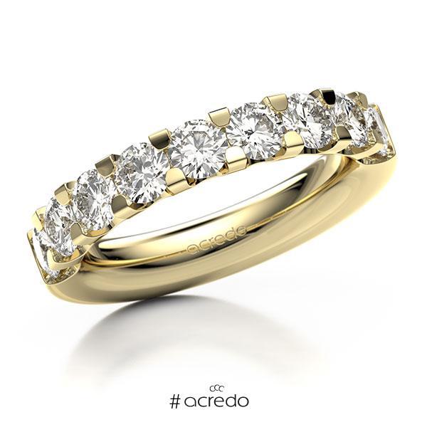 Memoire/Diamantring in Gelbgold 585 halbausgefasst mit 8x 0,3 ct. Brillant tw, vs von acredo