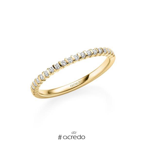 Memoire/Diamantring in Gelbgold 585 halbausgefasst mit zus. 0,21 ct. Brillant tw, vs von acredo