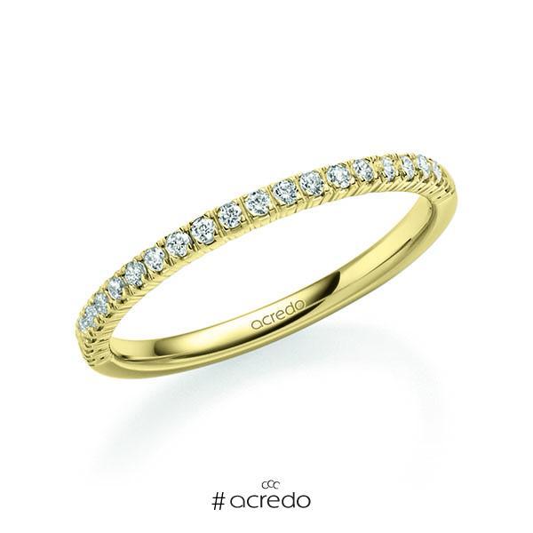 Memoire/Diamantring in Gelbgold 585 halbausgefasst mit zus. 0,22 ct. Brillant tw, vs von acredo