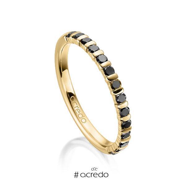 Memoire/Diamantring in Gelbgold 585 halbausgefasst mit zus. 0,39 ct. Brillant schwarz von acredo