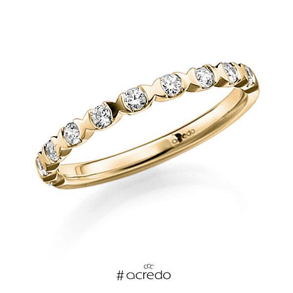 Memoire/Diamantring in Gelbgold 585 halbausgefasst mit zus. 0,3 ct. Brillant tw, vs von acredo