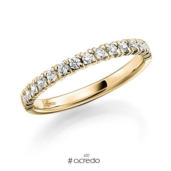Memoire/Diamantring in Gelbgold 585 halbausgefasst mit zus. 0,45 ct. Brillant tw, vs von acredo