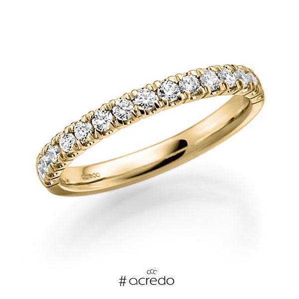 Memoire/Diamantring in Gelbgold 585 halbausgefasst mit zus. 0,48 ct. Brillant tw, vs von acredo