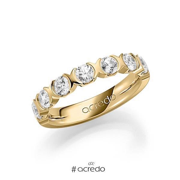 Memoire/Diamantring in Gelbgold 585 halbausgefasst mit zus. 1,2 ct. Brillant tw, vs von acredo