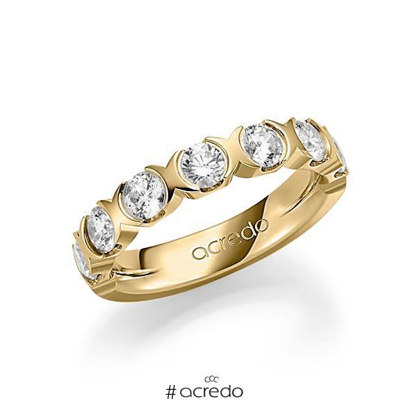 Memoire/Diamantring in Gelbgold 585 halbausgefasst mit zus. 1,4 ct. Brillant tw, vs von acredo