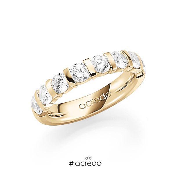 Memoire/Diamantring in Gelbgold 585 halbausgefasst mit zus. 1,8 ct. Brillant tw, vs von acredo