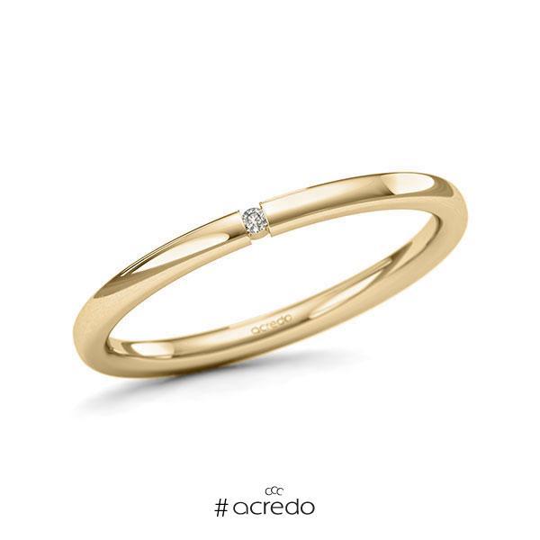 Memoire/Diamantring in Gelbgold 585 mit zus. 0,01 ct. Brillant tw, si von acredo