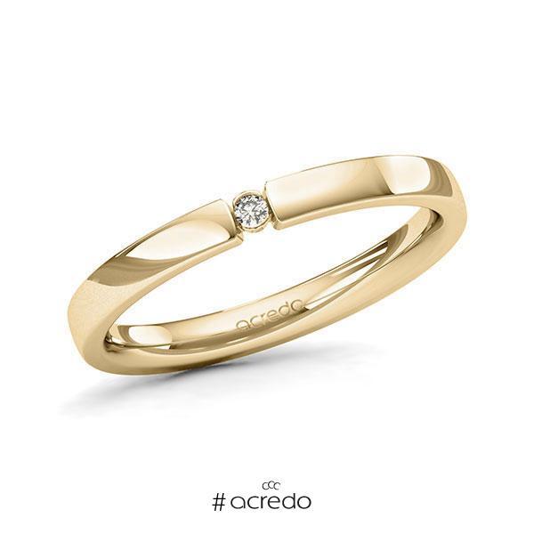 Memoire/Diamantring in Gelbgold 585 mit zus. 0,02 ct. Brillant tw, si von acredo