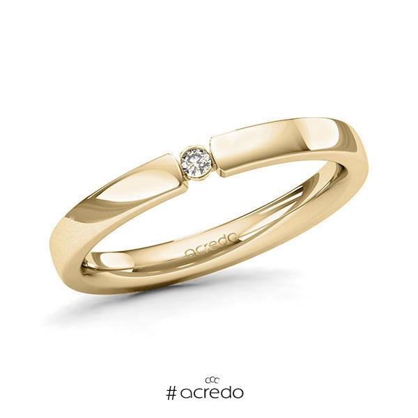 Memoire/Diamantring in Gelbgold 585 mit zus. 0,03 ct. Brillant tw, si von acredo