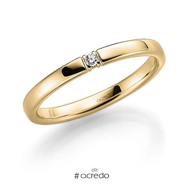 Memoire/Diamantring in Gelbgold 585 mit zus. 0,03 ct. Brillant tw, vs von acredo