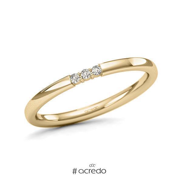 Memoire/Diamantring in Gelbgold 585 mit zus. 0,045 ct. Brillant tw, si von acredo