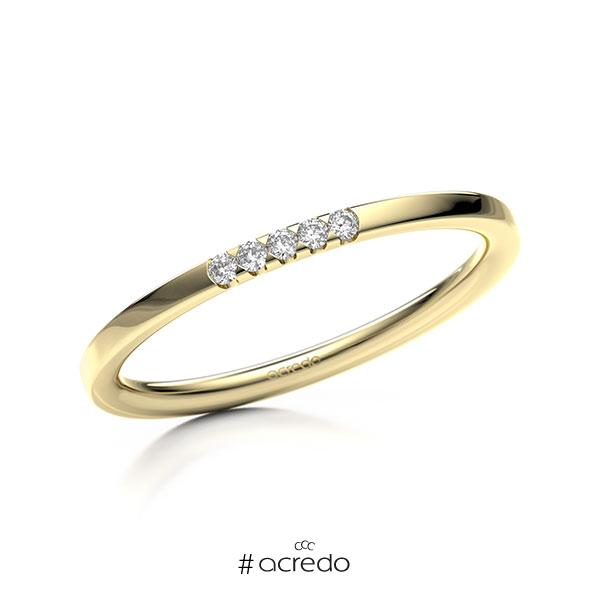 Memoire/Diamantring in Gelbgold 585 mit zus. 0,05 ct. Brillant tw, si von acredo