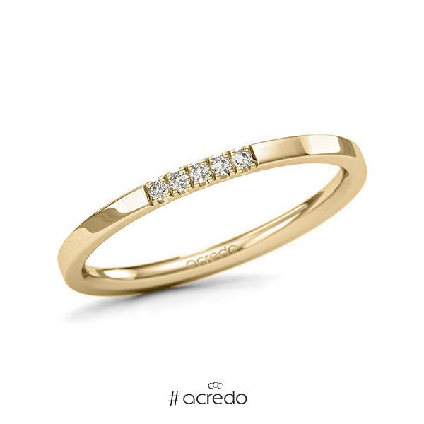Memoire/Diamantring in Gelbgold 585 mit zus. 0,05 ct. Brillant tw, si von acredo