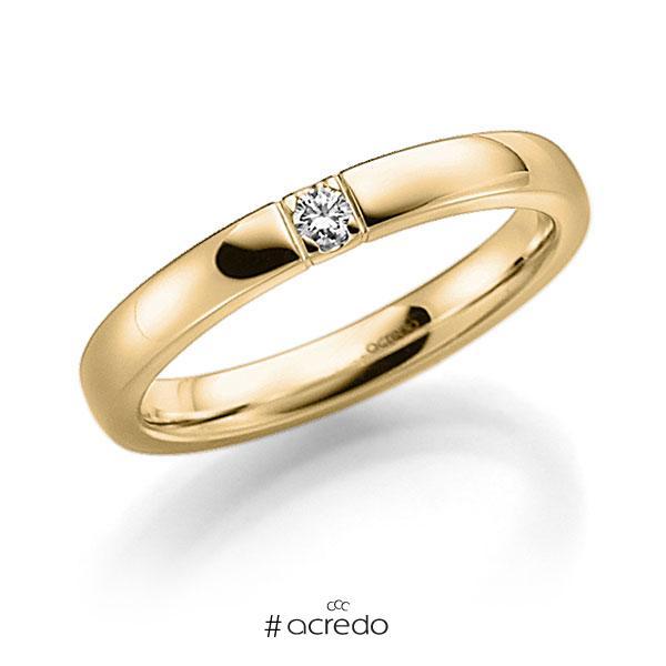 Memoire/Diamantring in Gelbgold 585 mit zus. 0,05 ct. Brillant tw, vs von acredo