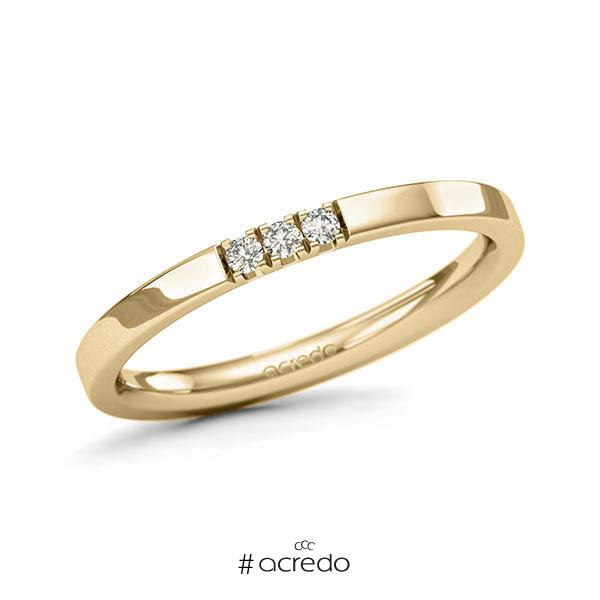Memoire/Diamantring in Gelbgold 585 mit zus. 0,06 ct. Brillant tw, si von acredo