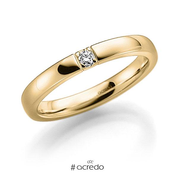 Memoire/Diamantring in Gelbgold 585 mit zus. 0,06 ct. Brillant tw, vs von acredo