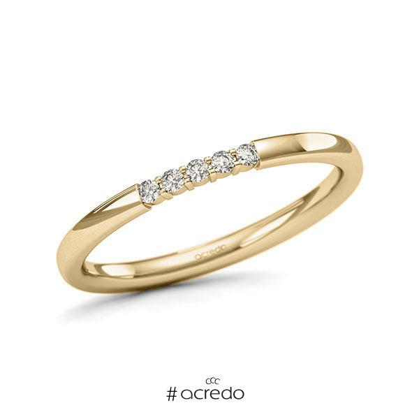 Memoire/Diamantring in Gelbgold 585 mit zus. 0,075 ct. Brillant tw, si von acredo