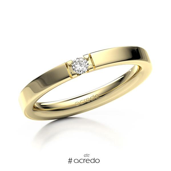 Memoire/Diamantring in Gelbgold 585 mit zus. 0,07 ct. Brillant tw, vs von acredo