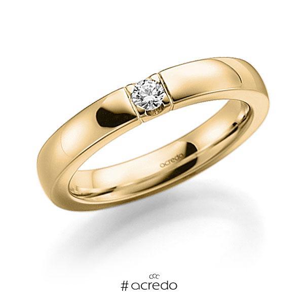 Memoire/Diamantring in Gelbgold 585 mit zus. 0,08 ct. Brillant tw, vs von acredo