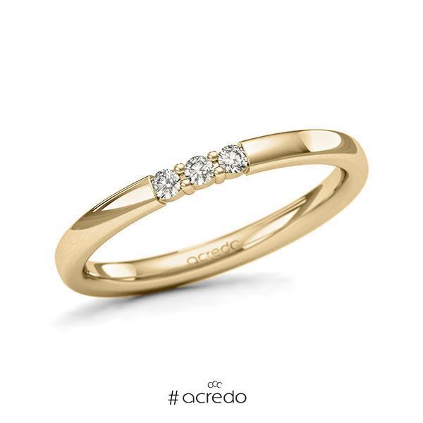 Memoire/Diamantring in Gelbgold 585 mit zus. 0,09 ct. Brillant tw, si von acredo