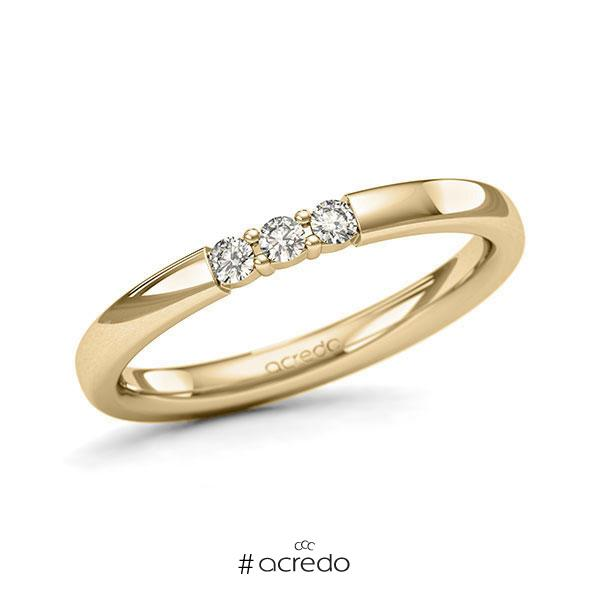 Memoire/Diamantring in Gelbgold 585 mit zus. 0,12 ct. Brillant tw, si von acredo