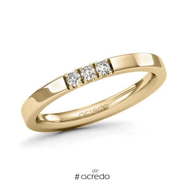 Memoire/Diamantring in Gelbgold 585 mit zus. 0,12 ct. Brillant tw, si von acredo