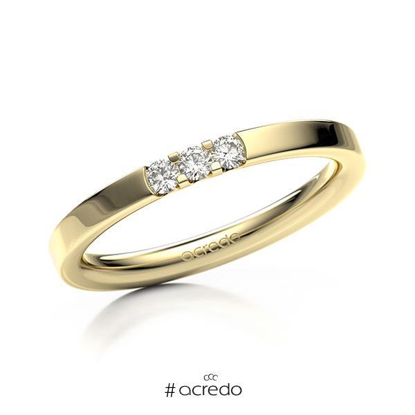 Memoire/Diamantring in Gelbgold 585 mit zus. 0,12 ct. Brillant tw, vs von acredo