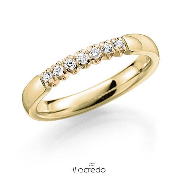 Memoire/Diamantring in Gelbgold 585 mit zus. 0,14 ct. Brillant tw, vs von acredo