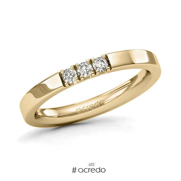 Memoire/Diamantring in Gelbgold 585 mit zus. 0,15 ct. Brillant tw, si von acredo