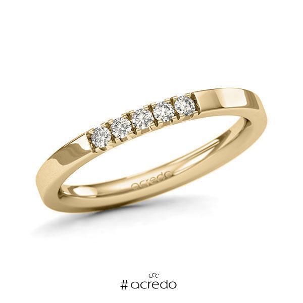 Memoire/Diamantring in Gelbgold 585 mit zus. 0,15 ct. Brillant tw, si von acredo