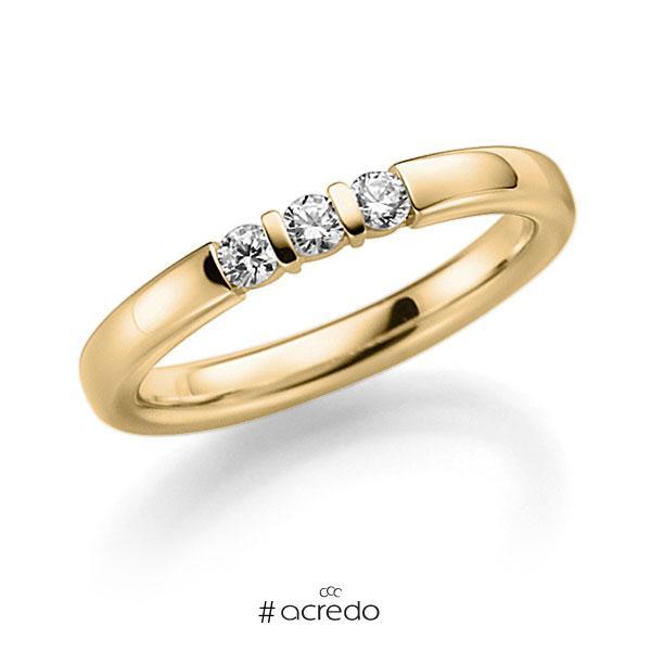 Memoire/Diamantring in Gelbgold 585 mit zus. 0,15 ct. Brillant tw, vs von acredo