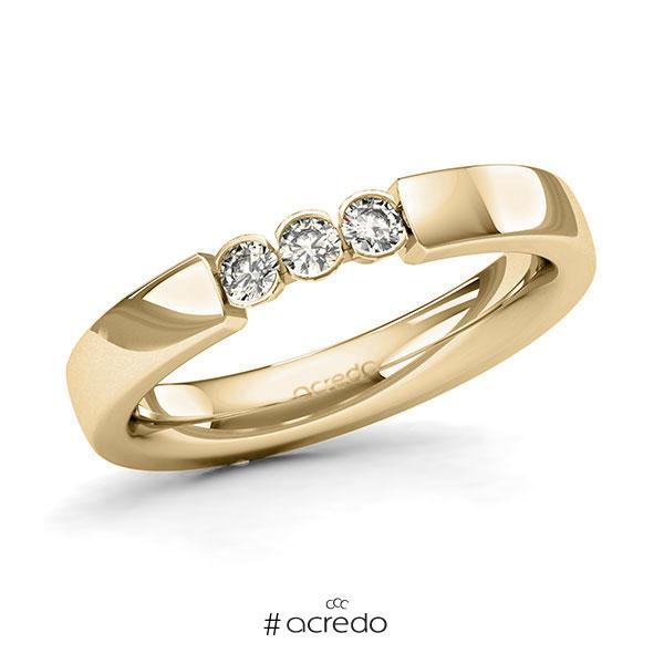 Memoire/Diamantring in Gelbgold 585 mit zus. 0,18 ct. Brillant tw, si von acredo