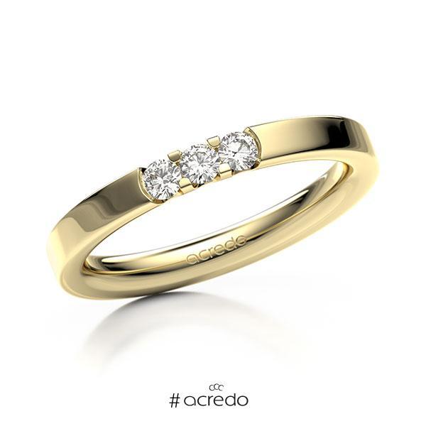Memoire/Diamantring in Gelbgold 585 mit zus. 0,18 ct. Brillant tw, vs von acredo