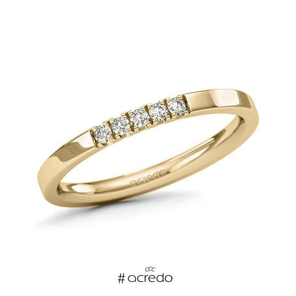 Memoire/Diamantring in Gelbgold 585 mit zus. 0,1 ct. Brillant tw, si von acredo