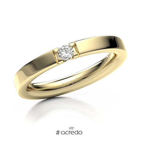 Memoire/Diamantring in Gelbgold 585 mit zus. 0,1 ct. Brillant tw, vs von acredo