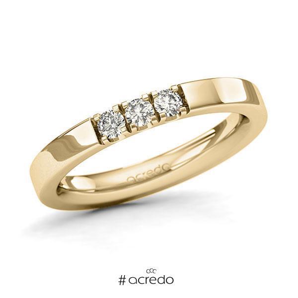 Memoire/Diamantring in Gelbgold 585 mit zus. 0,21 ct. Brillant tw, si von acredo