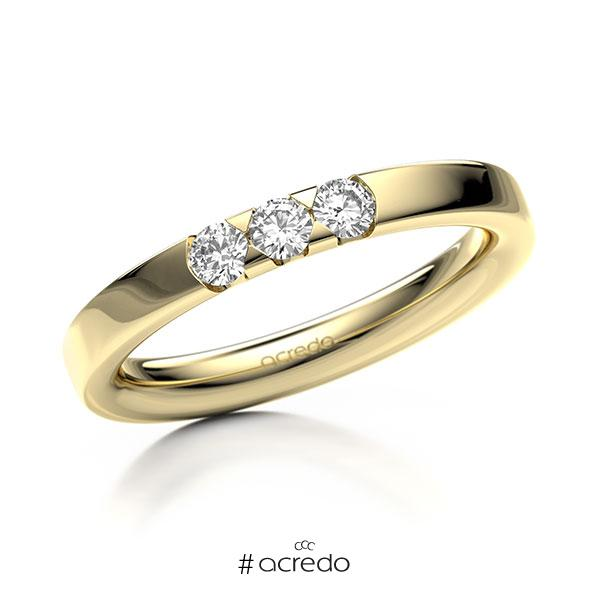 Memoire/Diamantring in Gelbgold 585 mit zus. 0,24 ct. Brillant tw, si von acredo
