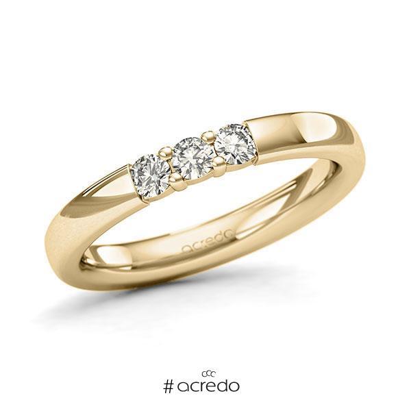 Memoire/Diamantring in Gelbgold 585 mit zus. 0,24 ct. Brillant tw, si von acredo