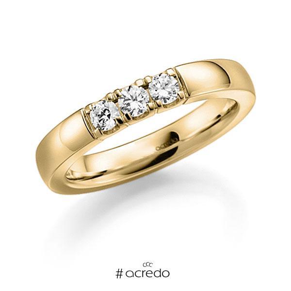 Memoire/Diamantring in Gelbgold 585 mit zus. 0,24 ct. Brillant tw, vs von acredo