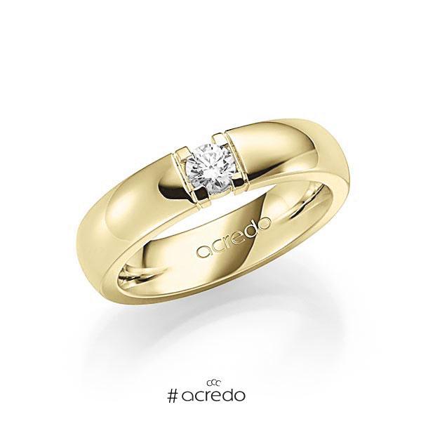 Memoire/Diamantring in Gelbgold 585 mit zus. 0,25 ct. Brillant tw, vs von acredo