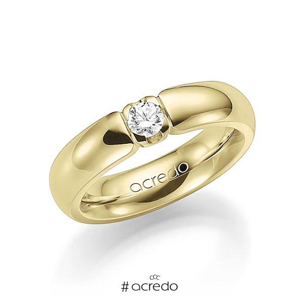 Memoire/Diamantring in Gelbgold 585 mit zus. 0,25 ct. Brillant tw, vs von acredo