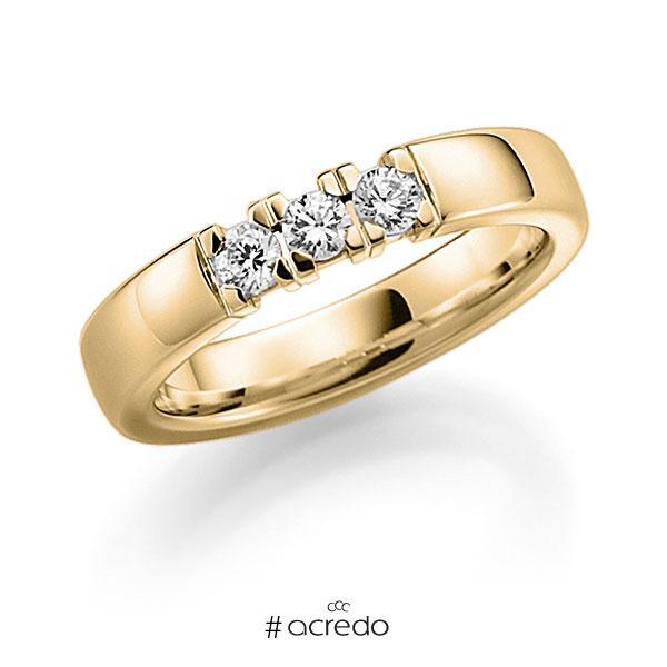 Memoire/Diamantring in Gelbgold 585 mit zus. 0,27 ct. Brillant tw, vs von acredo