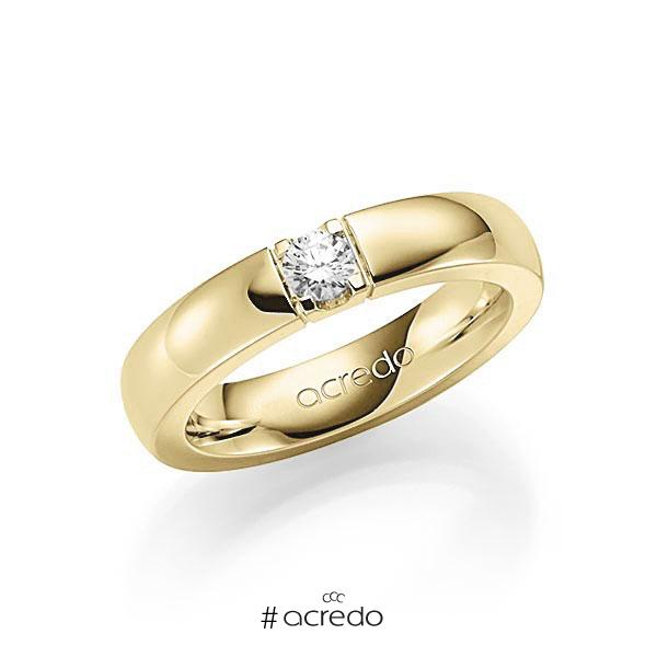 Memoire/Diamantring in Gelbgold 585 mit zus. 0,2 ct. Brillant tw, vs von acredo