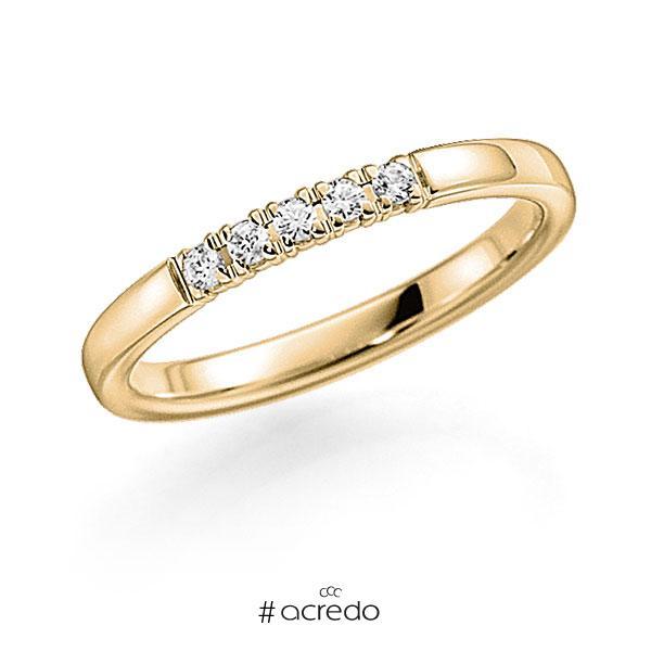 Memoire/Diamantring in Gelbgold 585 mit zus. 0,2 ct. Brillant tw, vs von acredo